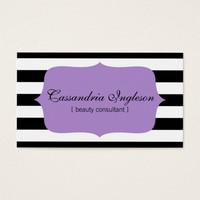 Beauty Consultant Black and White Stripes Purple Business Card