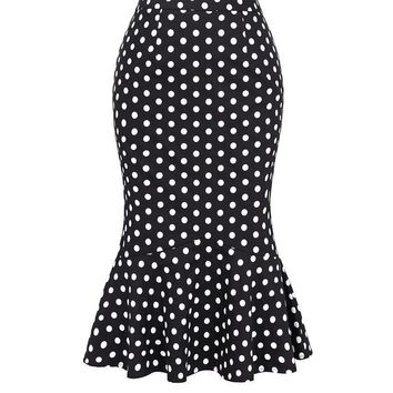 Women Fashion Polka-Dots Pencil Skirt Causal Floral Mermaid Midi Skirts Summer Office Work Party Bodycon Skirt