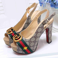 Gucci Popular New Style Women Princess Small Bee Embroidery High Heels High-Heeled Shoes