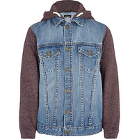 River Island Boys red jersey sleeve hooded denim jacket