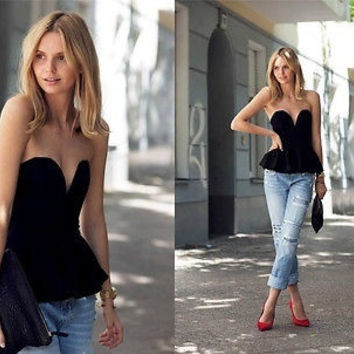 Black Ruffle Bustier Deep Plunging V Neck Sweetheart Blouse Strapless Peplum Top (Size: M, Color: Black) = 5739032833