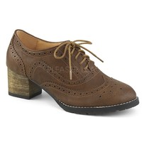 Pin Up Couture Russell Brown Wingtip Oxford Heels