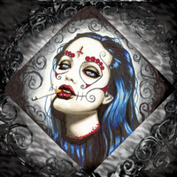 Day of the Dead Angelina Jolie Portrait square stretched canvas