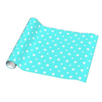 Cute Polka Dots, Aqua & White Gift Wrap