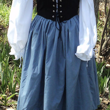 Women's Medieval-Colonial Peasant's Bodice with Laced Front Opening--MADE TO ORDER--