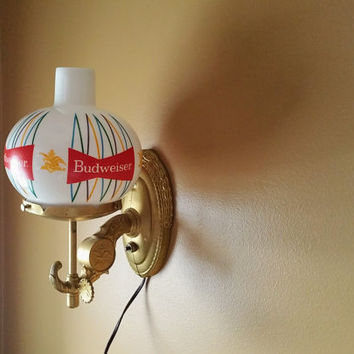 Vintage Budweiser Wall Sconce Lamp Milk Glass Shades