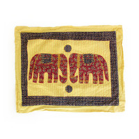 Vintage Indian Pillow Case -- Elephant Pillow Cover -- Large Kantha Stitched Yellow Cotton Pillowcase -- Boho Bedding