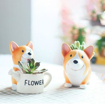 Microlands chaft Succulent Cactus Herb Corgi Dog Planter Pot Trays Potted Flower Craft Miniature Ornament Garden Plant Container