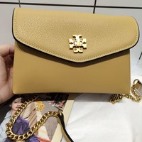 Kuyou Gb99822 Tory Burch Chain Flap Cover Bag Crossbody Bag In Yellow Grained Leather 20*13.5*7.5cm