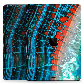 "Teal Blue Red Dragon Vein Agate V2 - Full Body Skin Decal for the Apple iPad Pro 12.9"", 11"", 10.5"", 9.7"", Air or Mini (All Models Available)"