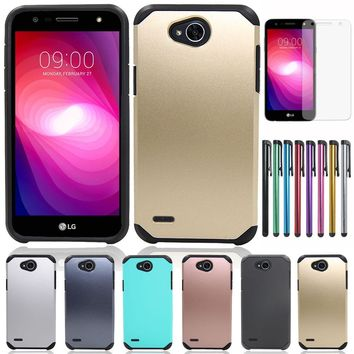 Dual Layer Slim Hard Hybrid Rugged Case For LG X Power 2 Silicone PC Shockproof Cover For LG Xpower 2/LV7/K10 Power/X Charge @