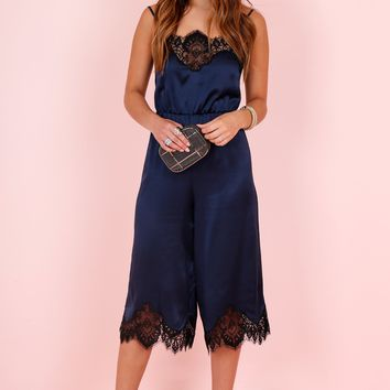 ALICE + OLIVIA | Quincy Lace Jumpsuit - Navy