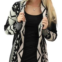 Girltalkfashions Women's Aztec Long Sleeve Chuncky Open Cardigan:Amazon:Clothing