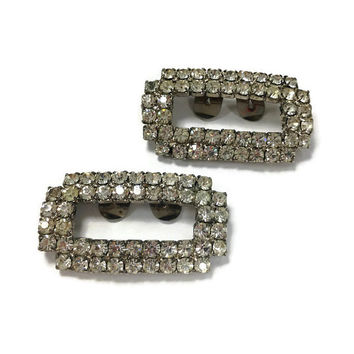 1950s Shoe Clips, Vintage Rhinestone Shoe Ornaments, Rectangular Shoe Clips with Prong Set Rhinestones