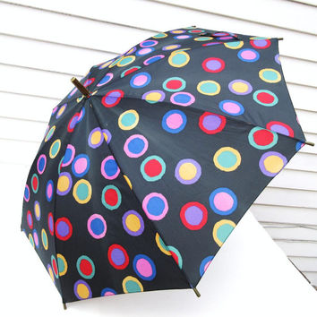 Mod Umbrella, Polka Dot Fabric, Sun Parasol, Walking Cane, Lucite Handle