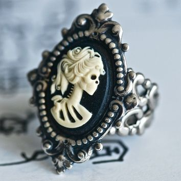 Miss Skeleton Ring  Ivory Black VIctorian Goth by blackpersimmons