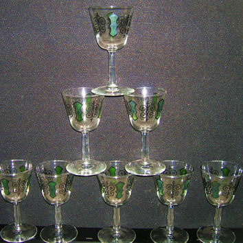 Espana Pattern Wine Glasses Spanish Glassware NICE RETRO 8 SET