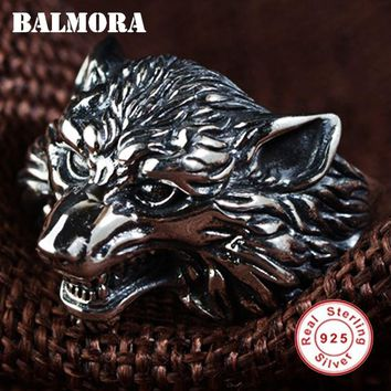 BALMORA 100% Real 925 Sterling Silver Wolf Head Rings for Men Gift Vintage Thai Silver Punk Animal Ring Jewelry Anillos SY22135