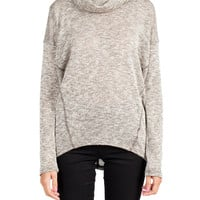 Cowl Neck Heather Knit Sweater