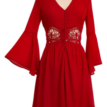 Bohemian Beauty Lace & Bells Dress in Scarlet