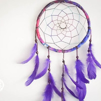 Large Dream Catcher - Wonderful Dreams - With Star Patterned Frame, Purple Feathers and Transitional Web - Boho Home Decor, Nursery Mobile