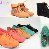 Women's Fashion Cute Round Toe Lace Up Lace Up Oxford Flat 5 Colors NEW all Size