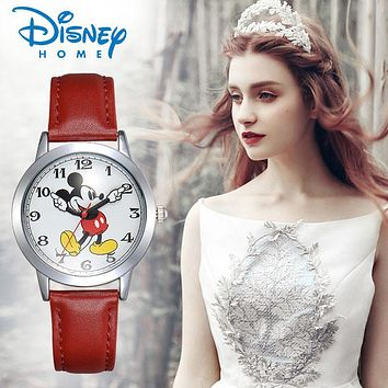 Disney Watch Men Mickey Mouse Women Watches Fashion Top Brand Wristwatch relogio feminino Casual Quartz Leather Strap Watches