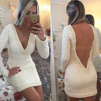 robe de cocktail Long Sleeve White Lace Cocktail Dresses 2016 Sexy Deep V Neck Backless Pearls Beaded Bodycon Party Dress Short