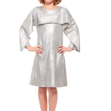Indigo Big Girls' Silver Capelet Dress