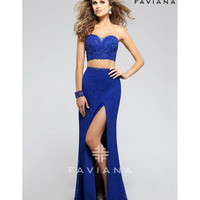 Faviana 7751 Royal Blue Lace Two Piece Long Dress 2016 Prom Dresses