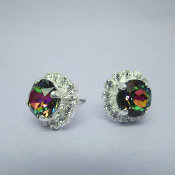 swarovski earrings, 8mm studs with surrounding halo crystals. bridal, bridesmaid designer inspired, rainbow #288