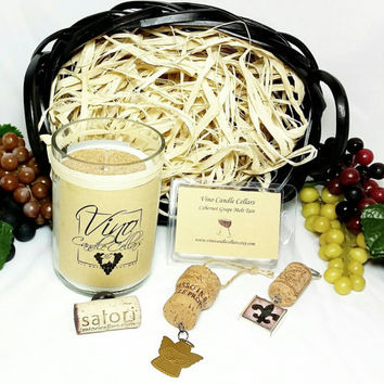 Wine Lovers Gift Basket/House Warming Gift/Wedding/Bridal Shower Gift/Recycled Wine Bottle Soy Candle/Melt Cubes/Cork Keychain