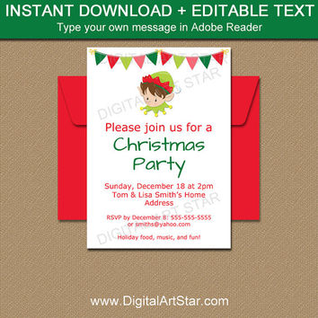 Elf Invitation, Christmas Invitation Template, Holiday Party Invitation Download, Christmas Elf Invitation Printable, Elf Party Invite C2