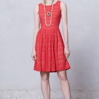 Sunstream Eyelet Dress by Anthropologie in Red Motif Size: S Dresses
