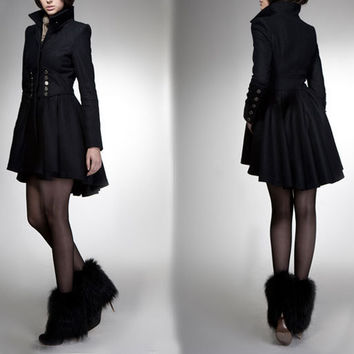 winter coat black coat princess coat wool coat winter jacket cocktail coat outerwear tailored long coat long sleeves custom women FM 033
