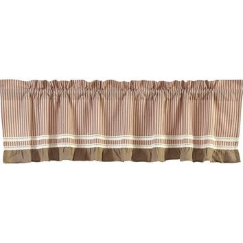 Kendra Stripe Red Valance Lined 16x90