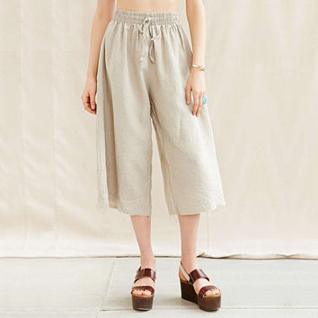 Cream Wide Midi Pants