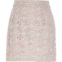 River Island Womens Pink sparkly lace A-line skirt