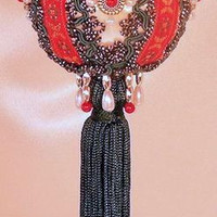"""Winter Victorian"" USA Handcrafted Beaded Victorian Christmas Ornament"