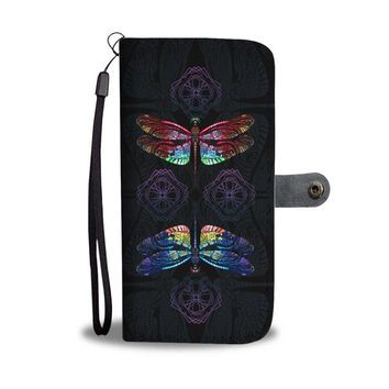 Dragonfly Women's Wallet Phone Case - Colorful Dragonfly
