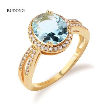 BUDONG Infinity Gorgeous Halo Finger Band Gold Color Ring Oval Light Blue Crystal Cubic Zircon Wedding Jewelry For Women XUR323