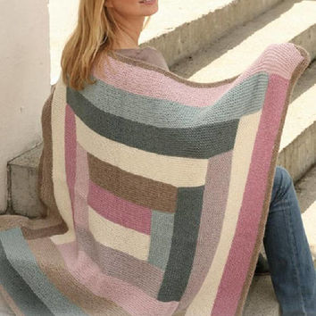 Patchwork blanket Winter blanket knitted blanket geometric rug handmade blanket pink grey blanket Alpaca wool Drops Lilith