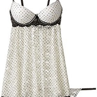 Cinema Etoile Women's Lauren Dot Print Stretch Lace Molded Cup Babydoll