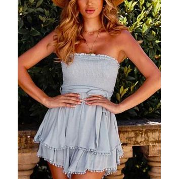 smocking hot romper in sage