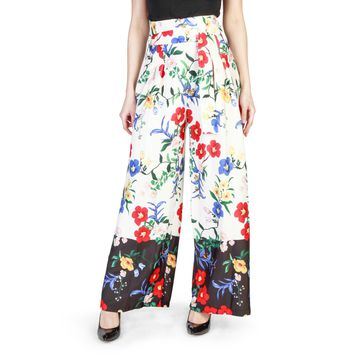 Miss White Floral Print Polyester Trouser
