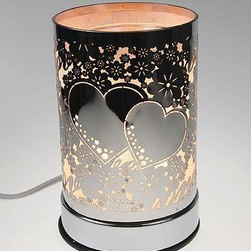 Two Hearts Table Fragrance Aroma Lamp Oil Diffuser Wax Tart Candle Warmer Burner Home Decor Touch Lamp
