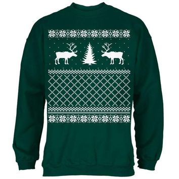 DCCKJY1 Reindeer Caribou Ugly Christmas Sweater Forest Adult Sweatshirt