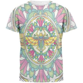 LMFCY8 Mandala Trippy Stained Glass Scarab Mens T Shirt