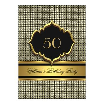 Elegant Gold Black Birthday Party Mens Man 5x7 Paper Invitation Card