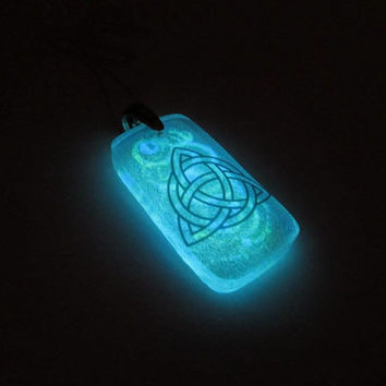 Triquetra Glow in the Dark Glass Necklace Pendant